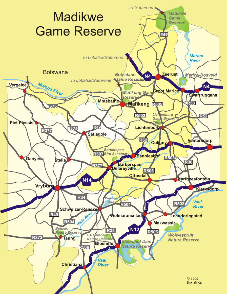 Location Map   Madikwe Game Reserve   North West Province   SA